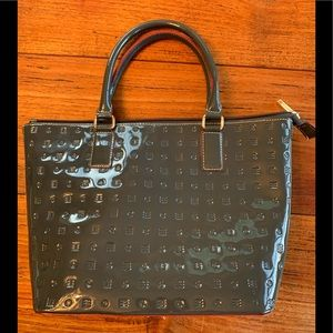 Arcadia Italian patent leather grey purse